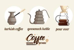 three coffee brewing methods bundle set vector