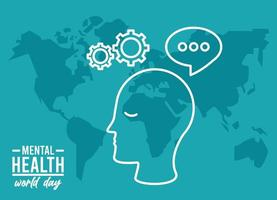 world mental health day campaign with head profile and earth maps vector