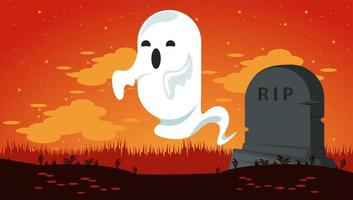 happy halloween celebration card with ghost in cemetery