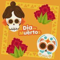 dia de los muertos poster with katrina and head skulls and flowers vector