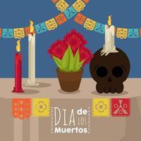 dia de los muertos poster with skull and flowers vector