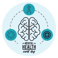 world mental health day campaign icons vector
