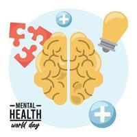 iconos y letras de la campaña del día mundial de la salud mental vector