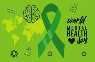 world mental health day campaign with ribbon and earth maps vector