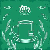 tea time lettering poster with teacup and leaves