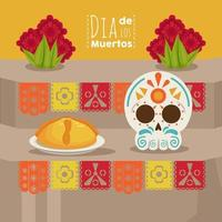 dia de los muertos poster with skull head and food vector