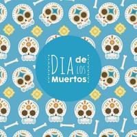 dia de los muertos poster with head skulls pattern vector