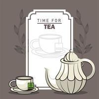 tiempo para el cartel de letras de té con tetera y taza vector