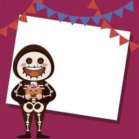 happy halloween party with skeleton and garlands hanging vector