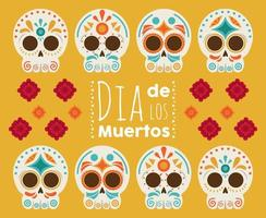 dia de los muertos poster with heads skulls and flowers