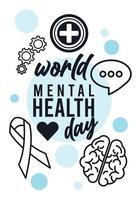 campaña del día mundial de la salud mental con estilo de línea de letras e iconos vector