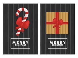 Feliz Navidad letras en marco cuadrado con regalo y caña en fondo de madera vector