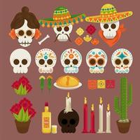 dia de los muertos poster with heads skulls and icons vector