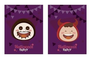 happy halloween party with little devil and skeleton heads vector