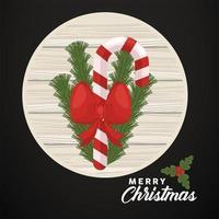 Feliz navidad letras con bastón y arco en marco circular de madera vector