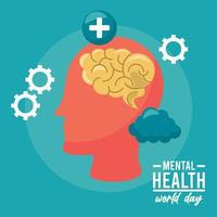 world mental health day campaign with brain profile and gears vector