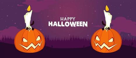happy halloween celebration card with pumpkins and candles vector