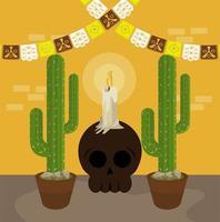dia de los muertos poster with skull and cactus vector