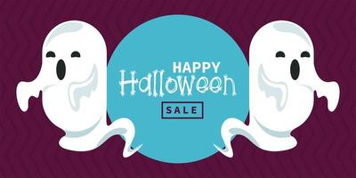 happy halloween celebration card with ghosts spirits vector