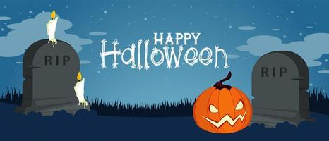 happy halloween celebration card with pumpkin in cemetery