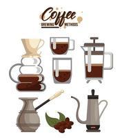 six coffee brewing methods bundle set icons vector