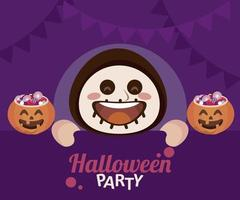 happy halloween party with skeleton and candies in pumpkin vector