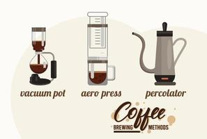 three coffee brewing methods bundle vector