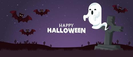 happy halloween celebration card with ghost and bats in cemetery