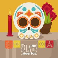 dia de los muertos poster with skull head and candle and flowers vector