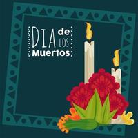 dia de los muertos poster with candles and flowers vector