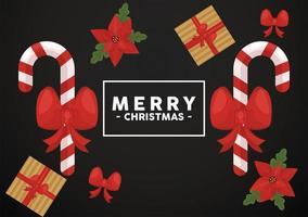 Feliz navidad letras en marco cuadrado con bastones y regalos vector