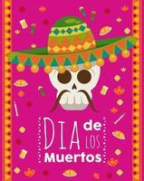 cartel del dia de los muertos con calavera de mariachi vector