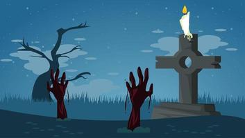 happy halloween celebration card with zombies hands in tomb cemetery vector