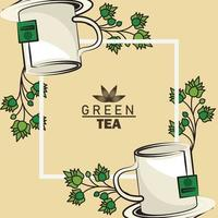 green tea lettering poster with mugs and leaves in square frame vector