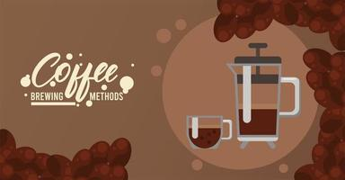 french press coffee brewing method vector