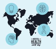campaña del día mundial de la salud mental con mapas e iconos de la tierra