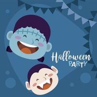 feliz fiesta de halloween con cabezas de drácula y frankenstein