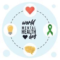 campaña del día mundial de la salud mental con letras e iconos alrededor vector