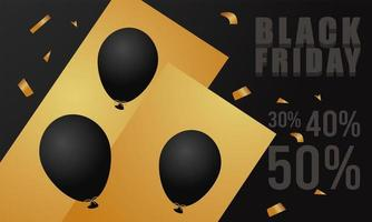 black friday sale lettering banner with helium balloons and golden confetti vector