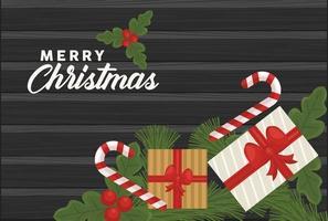 feliz navidad letras con regalos y bastones dulces vector