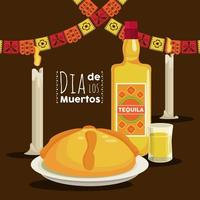 dia de los muertos poster with tequila bottle and garlands vector