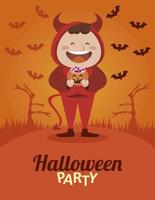 happy halloween party with little devil and bats flying vector