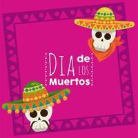 cartel del dia de los muertos con calaveras de mariachis vector