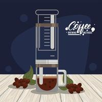 aero press coffee brewing method vector