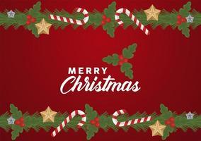 Feliz navidad letras con bastones y marco de estrellas vector