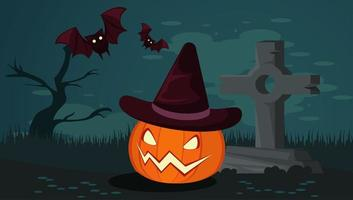 happy halloween celebration card with pumpkin and bats in cemetery vector