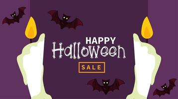 happy halloween celebration card with bats flying and candles vector