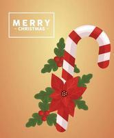 Feliz navidad letras en marco cuadrado con caña y flor vector