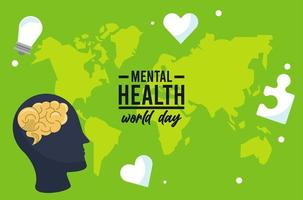 world mental health day campaign with brain profile and earth maps vector