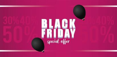black friday sale lettering banner with balloons helium in pink background vector